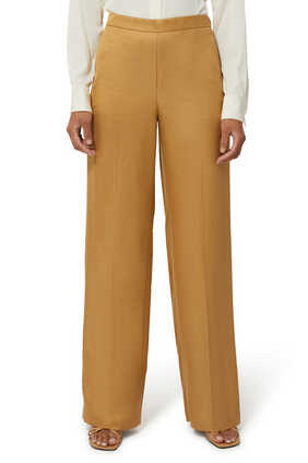 Wide Leg Pull On Twill Pants
