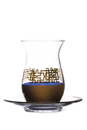 Tea Glass and Saucer, Set of 12