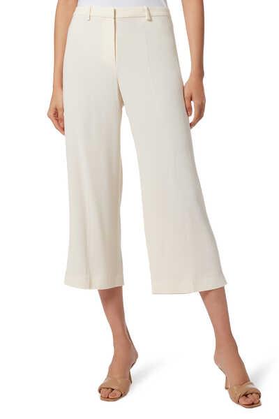 Crepe Wide-Leg Crop Pants