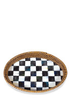 Courtly Check Rattan And Enamel Tray