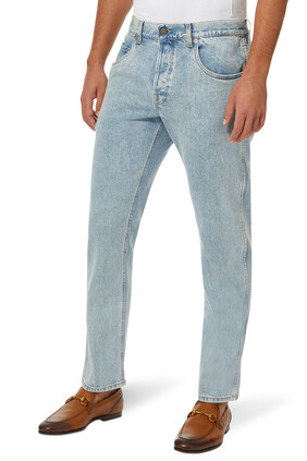 Washed Tapered Fit Jeans