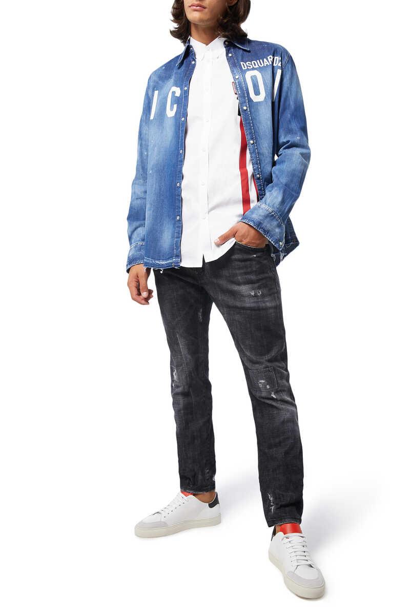 Poplin DSQ2 Sport Stripe Shirt image number 2