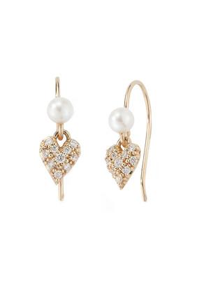 Small Diamond Heart and Pearl Earrings