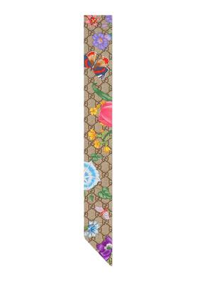 Silk GG Flora Print Neck Bow