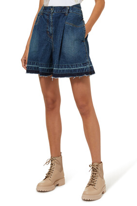 Wide-leg Denim Shorts