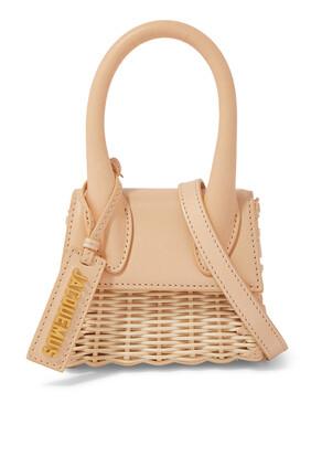 Le Chiquito Leather and Wicker Mini Bag