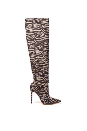 Crepe Slouchy Zebra Print Boots