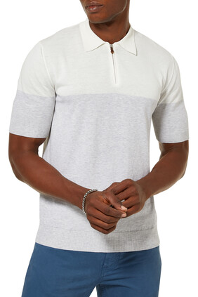 Knitted Block Cotton Polo