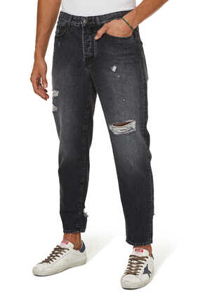 Distressed Carrot-Fit Jeans