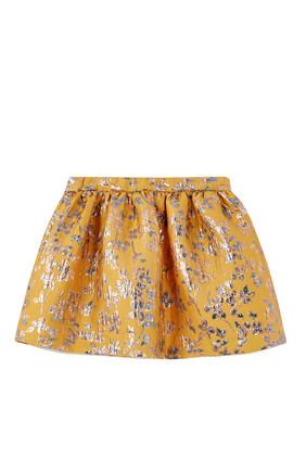 Metallic Jacquard Gathered Skirt