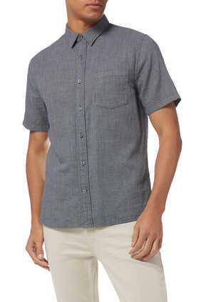 Mini Grid Textured Cotton Shirt