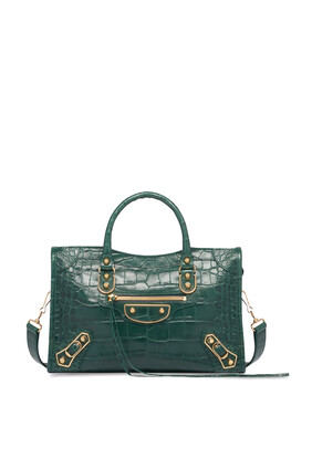 Classic Metallic Edge City Crocodile-Effect Bag