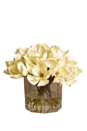 Magnolia Arrangement In A Glass Vase