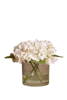 Hydrangea Arrangement In A Glass Vase