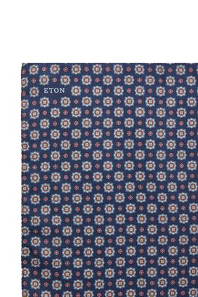 Medallion Print Silk Pocket Square