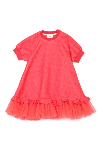 Tulle Ruffle Jacquard Sweat Dress