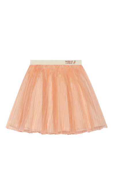 Pleated Silk Organza Skirt
