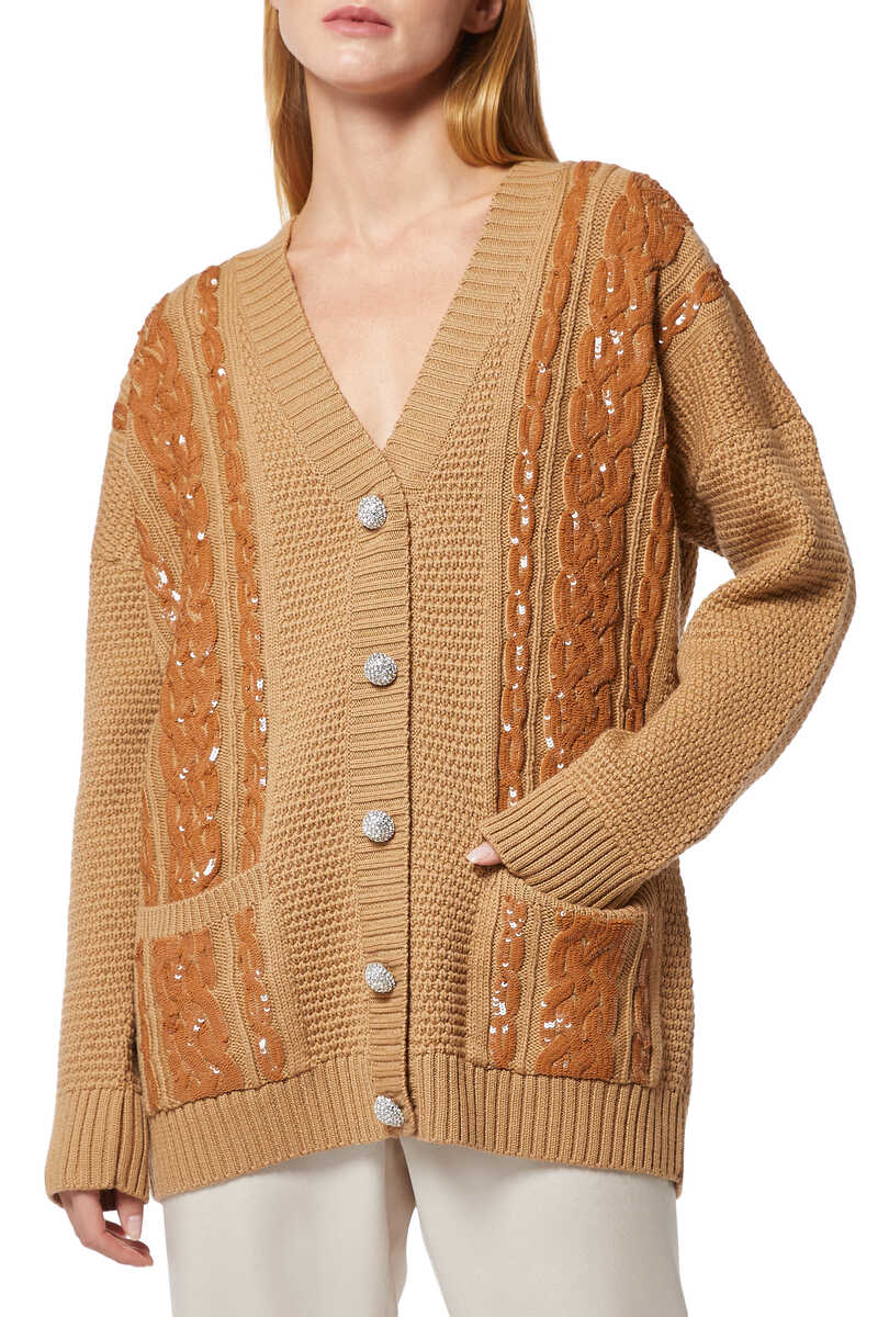 Sequin Embellished Caramel Cable Knit Cardigan image number 1