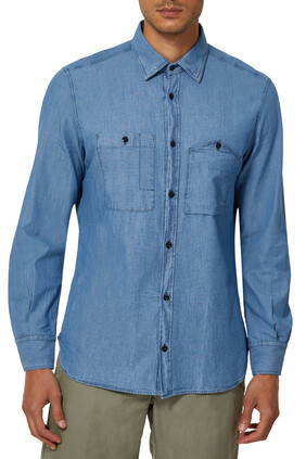 Slim-Fit Cotton Chambray Shirt
