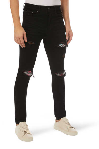 Ripped Watercolor Skinny Jeans