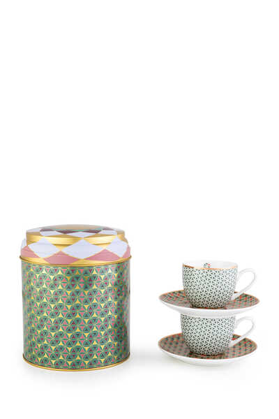 Opera Tin Box With Cups and Saucers, Set of Two