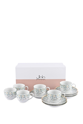 Mirrors Espresso Cups and Saucers, Set of Six