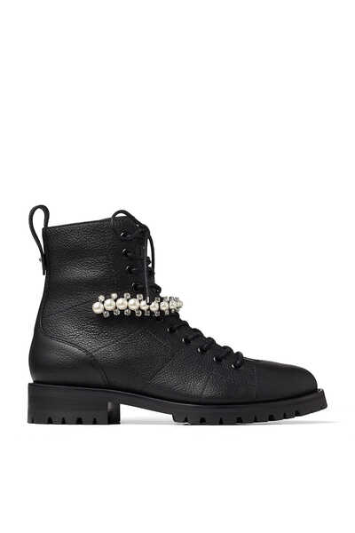 Black Grained Leather Combat Boots with Crystal and Pearl Detailing Cruz Flat