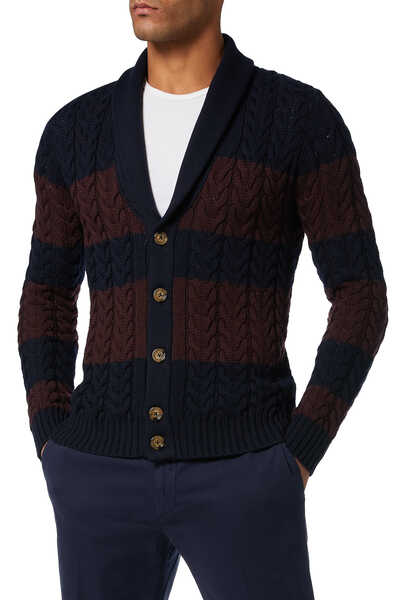 Striped Cable Knit Cardigan