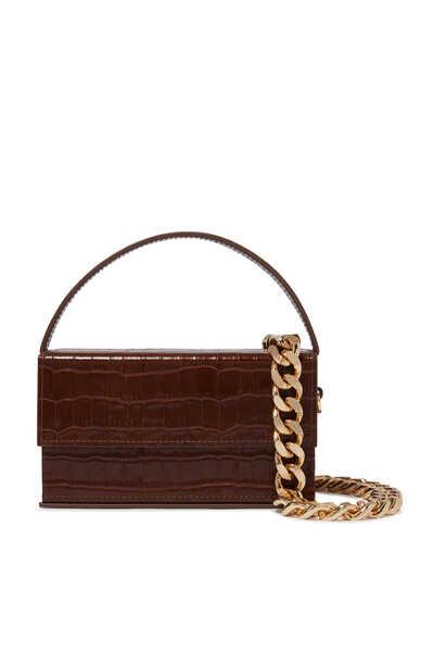 Ida Small Croc-Embossed Clutch Bag