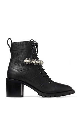 Black Grained Leather Lace-Up Combat Boots with Crystal and Pearl Detailing Cruz 65