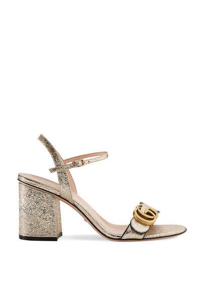 Metallic Logo Leather Mid-Heel Sandals