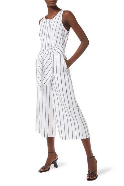 Petite Linen-Cotton Wide-Leg Cropped Jumpsuit
