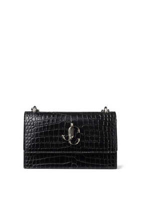 Black Croc-Embossed Leather Clutch Bag with Chain Strap Bohemia
