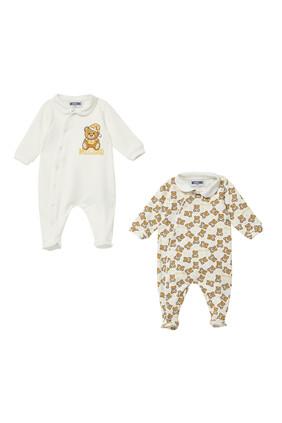 Bear Print Babygrows, Set of Two