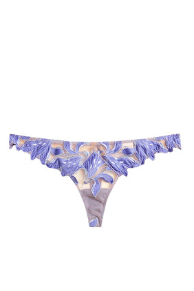 Embroidered Lily Thong