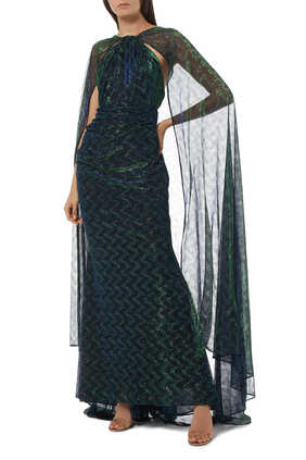 Coppelia Metallic Cape Gown