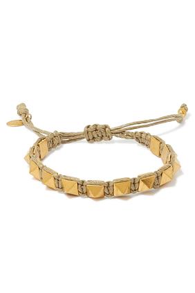 Rockstud waxed-cotton macramé bracelet