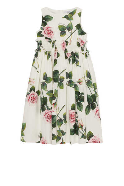 Tropical Rose Print Sleeveless Dress