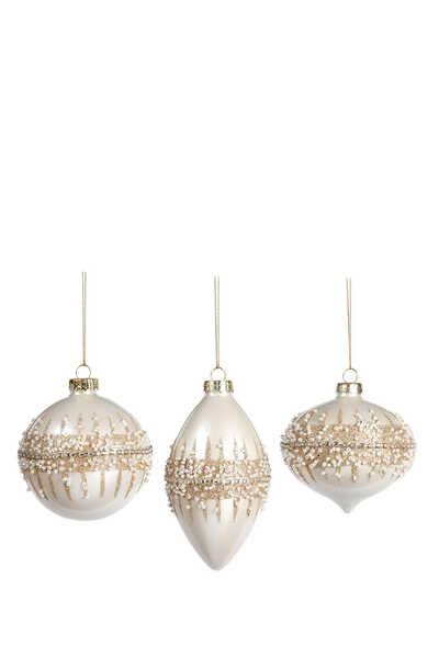 Glitter Ring Ball Ornaments, Set of Three