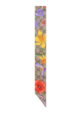 GG Flora Print Silk Neck Bow