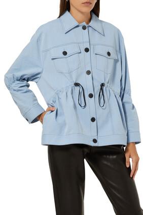 Contrast Stitching Shirt Jacket