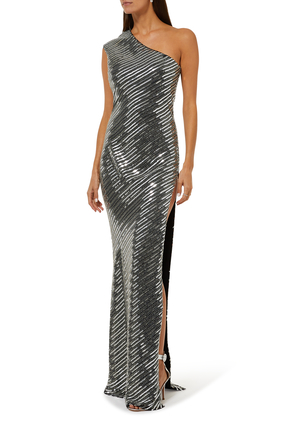 One Shoulder Beaded Gown
