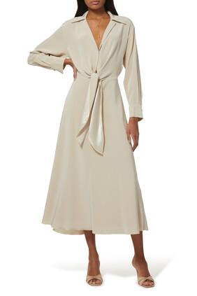 Long Sleeve  Tie Front Dress
