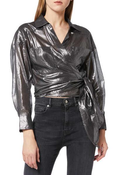 Anatye Metallized Wrap Shirt
