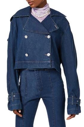 Ruffle-Trim Cropped Denim Jacket