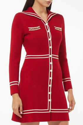 Contrast Trim Wool Dress