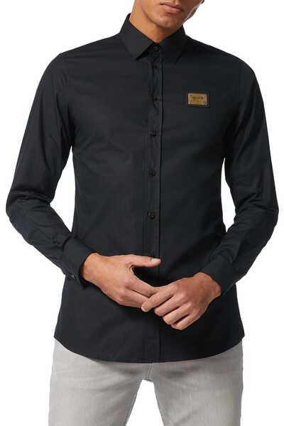 Cotton Poplin Plaque Shirt