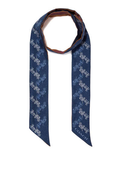 Diagonal Horse and Carriage Silk Skinny Scarf