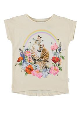 Giraffe Floral Graphic Print T-shirt