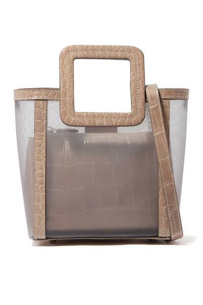 Mini Shirley Mesh and Croc-Embossed Bag